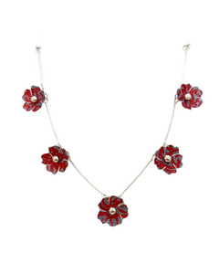 Blossom Necklace - 5 flower Red