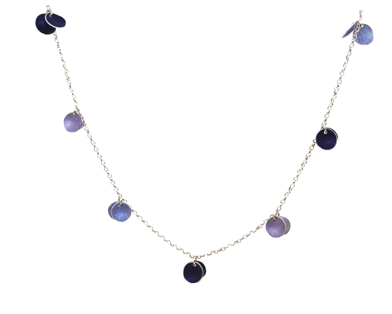Necklace - 7 Double Discs - lavender/mauve/purple