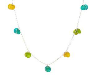 Necklace - 7 Double Discs - yellow/lime/jade