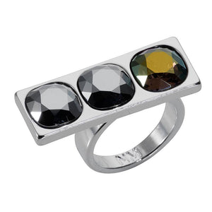 Geo 3 Stone Ring - Silver Chrome
