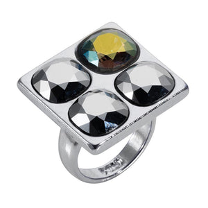 Geo 4 Stone Ring - Silver Chrome