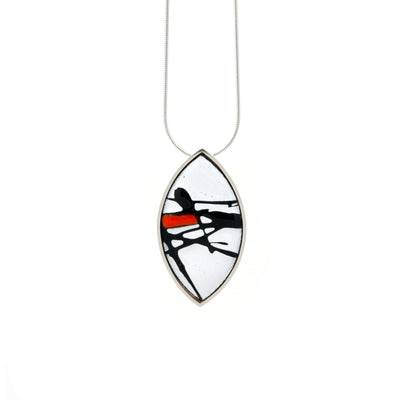 Red Splash Shield Silver Necklace