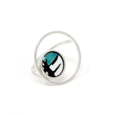 Turquoise Splash + Large Circle Silver Ring