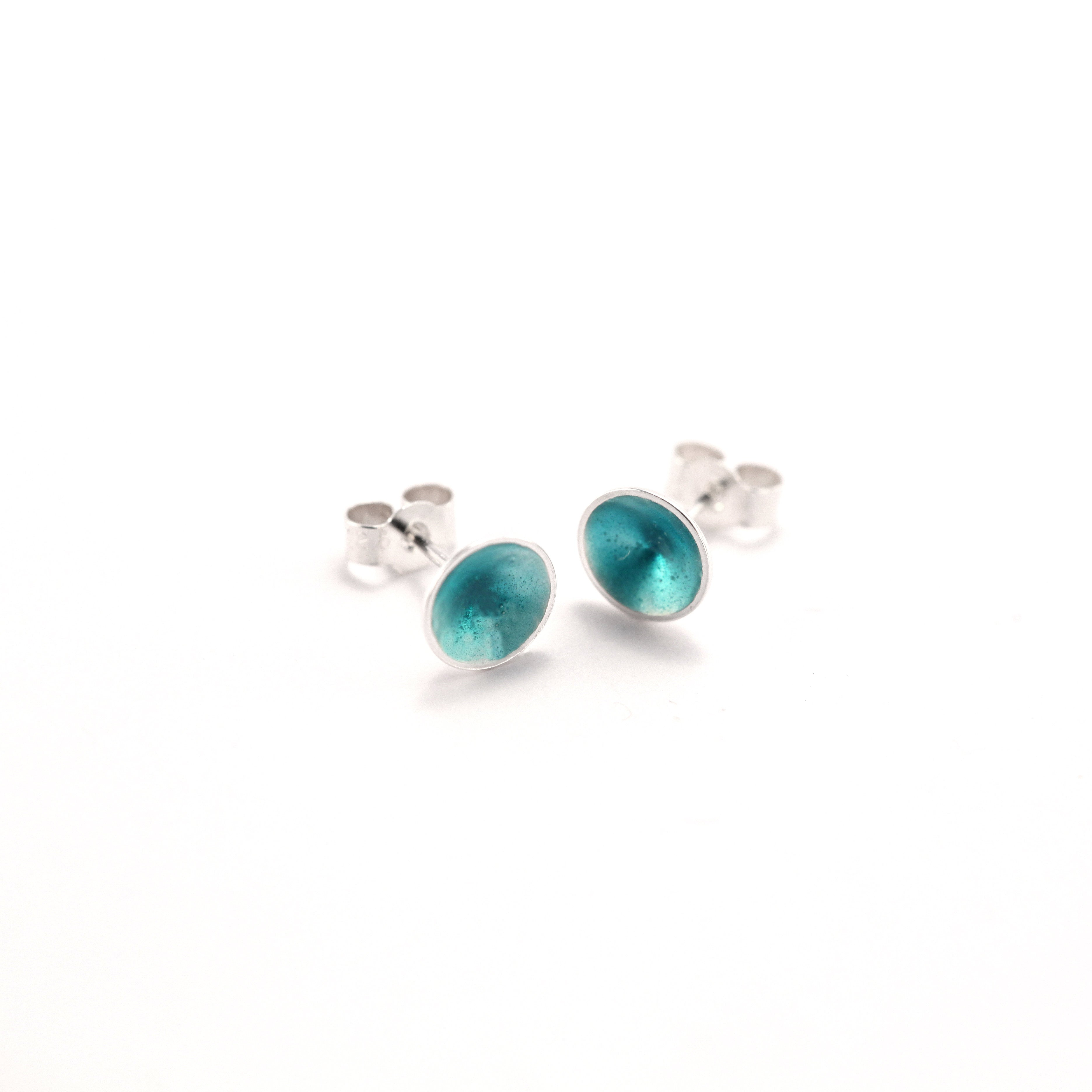 Turquoise Silver Cone Ear Studs
