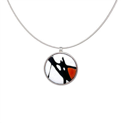 Red Splash Round Silver Necklace