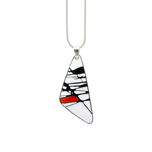 Red Splash Triangle Silver Necklace