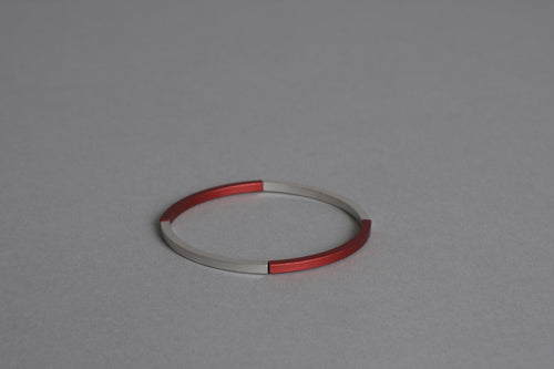 Line Silver and Red Bracelet