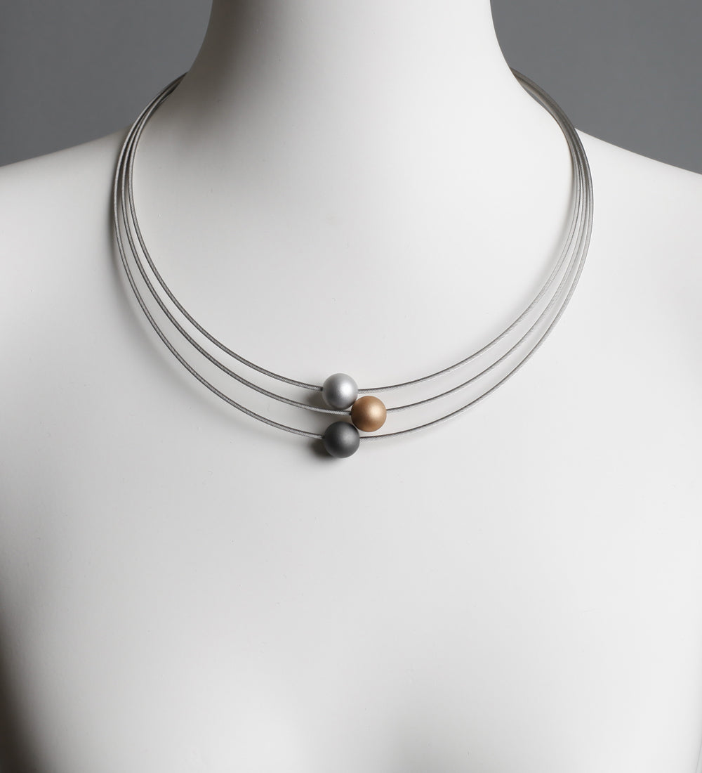 Ball Gold Grey and Silver Necklace
