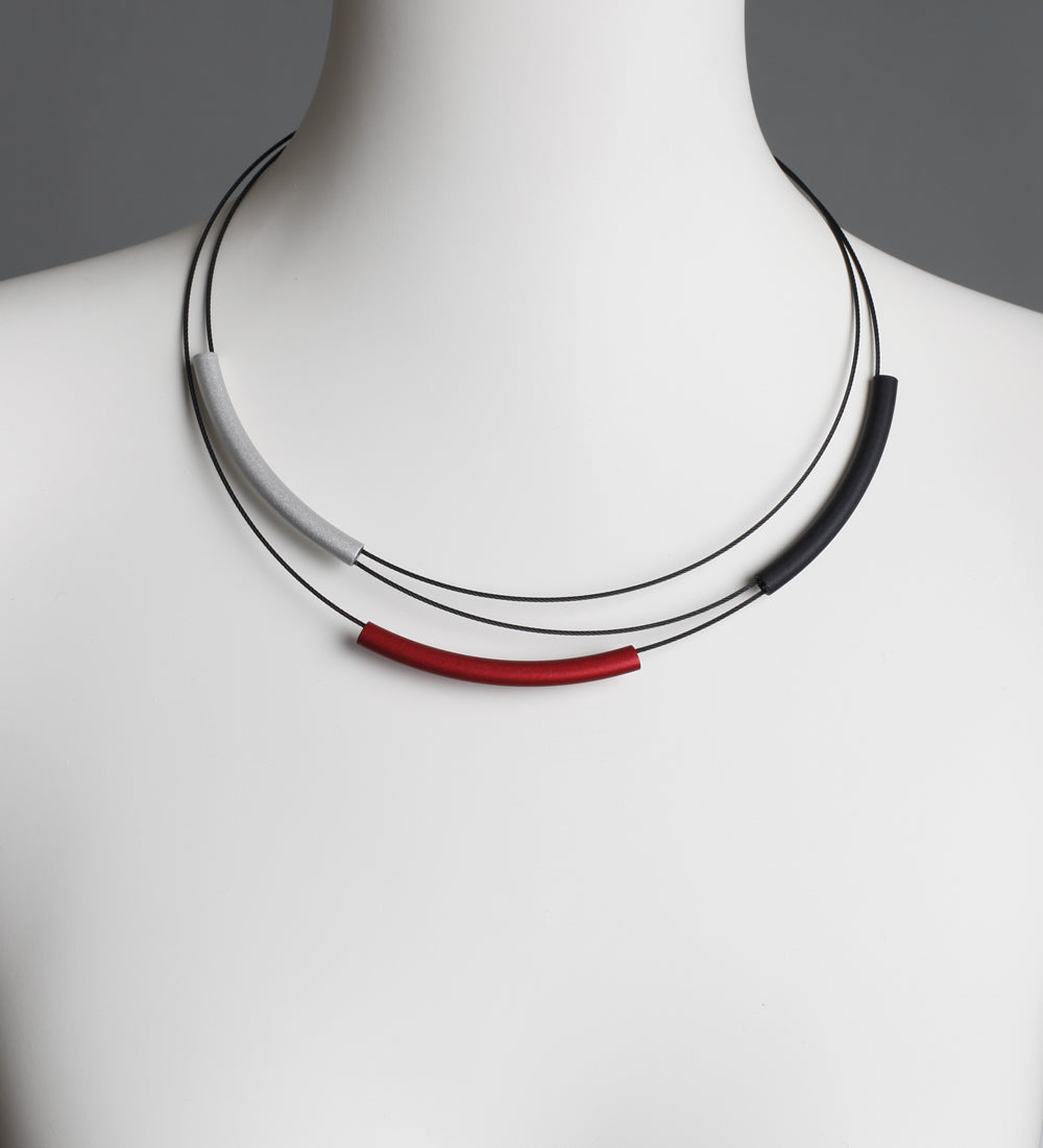Tube Black Red and Silver Necklace