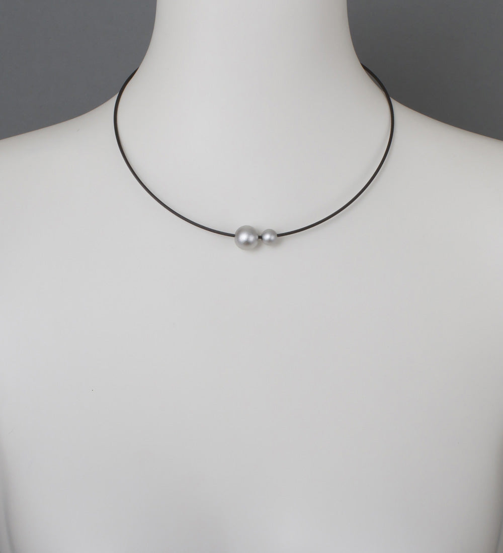 Ball x2 Silver Small Necklace