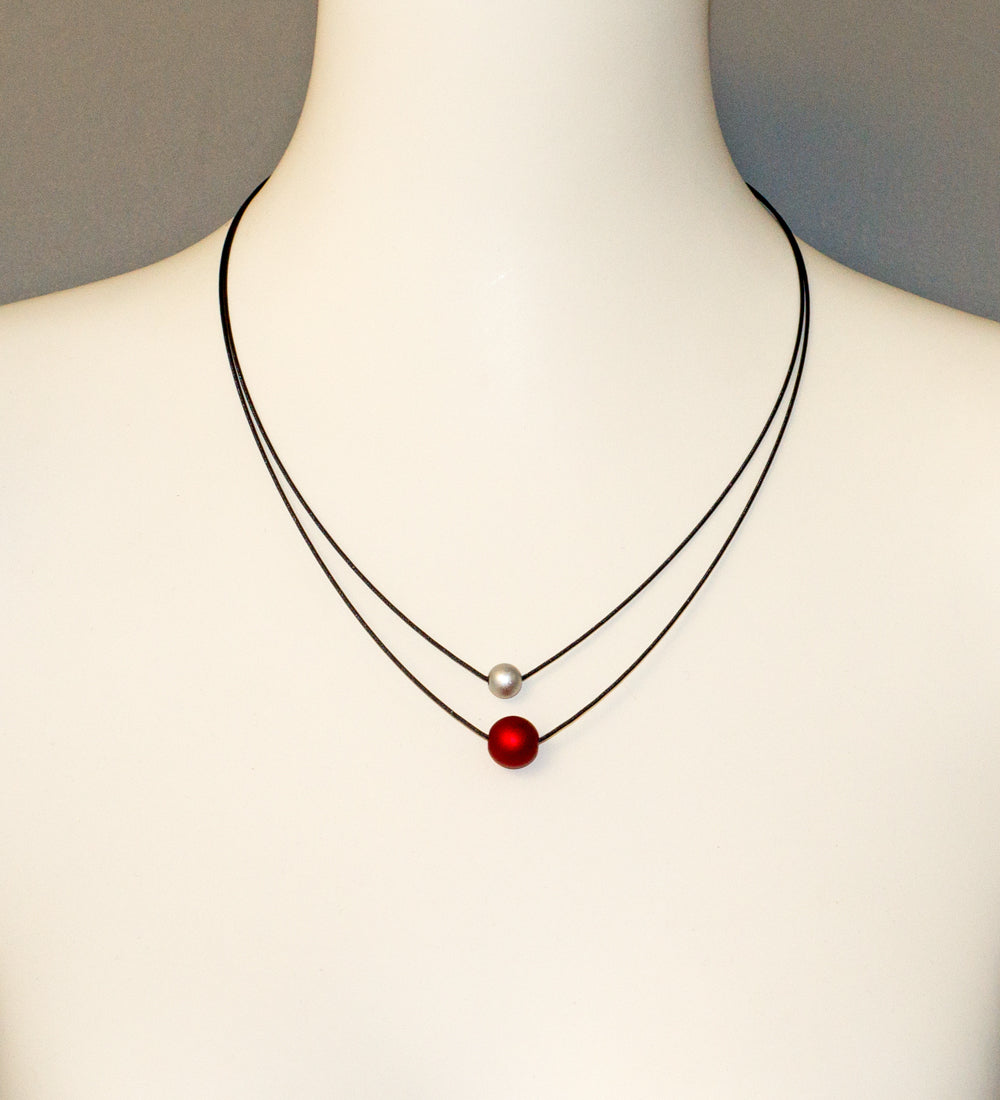 Ball Red and Silver Necklace