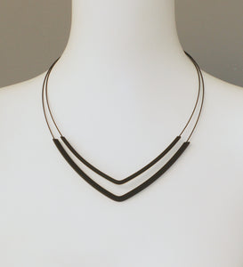 Line V Black Rubber Necklace