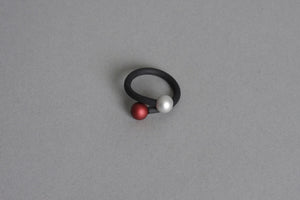 Ball x2 Silver and Red Ring