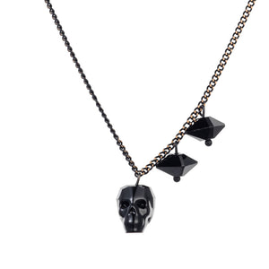 Skull and Spike Necklace - Black Platina
