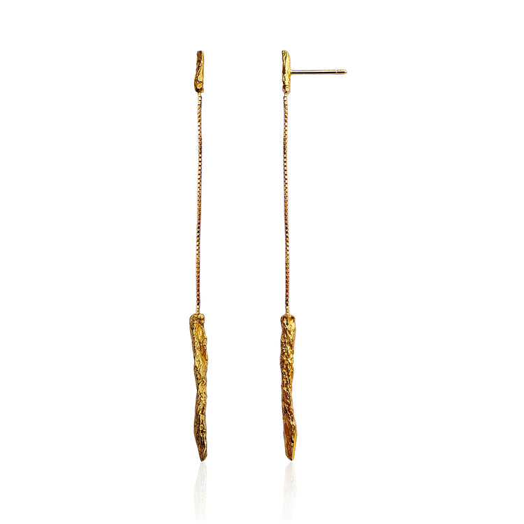 Illusion Lond Drop Gold Earrings