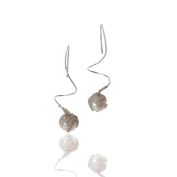 Magic Berries Silver and Pearl Earrings