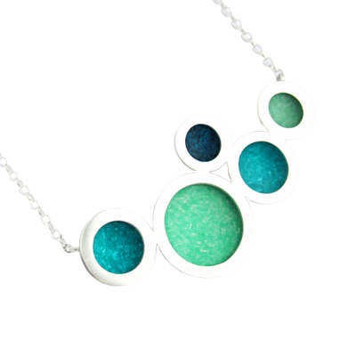Orbit necklace - multiple silver circles with jade/green/petrol centres