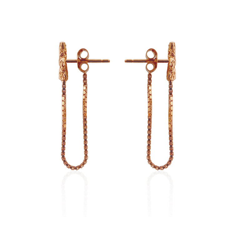 Illusion Chain Stud Rose Gold Earrings