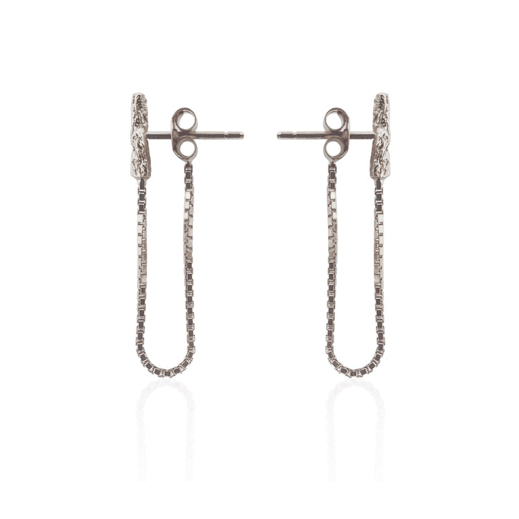 Illusion Chain Stud Silver Earrings