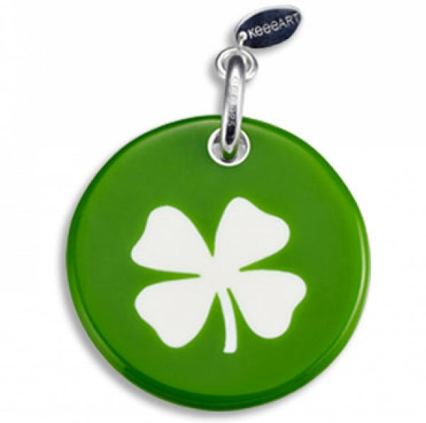 Round Tiny Shamrock Green Key Ring