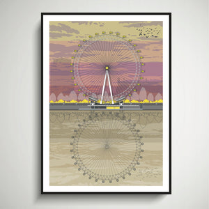 London Eye (Sunset) A4 Print