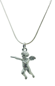 Flute Angel Pendant - Rhodium plated on Silver - with a Silver Chain