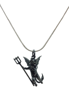 Devil Pendant - Oxidised Silver - with a Silver Chain