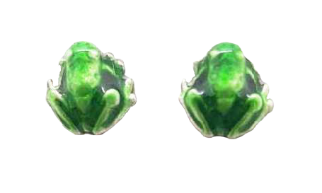 Ear Studs Enamelled Frog