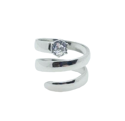 Curly Ring - White Topaz