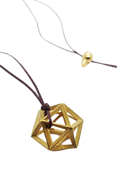 Plutonic Solids Necklace - Gold - 20 sides / Icosahedron