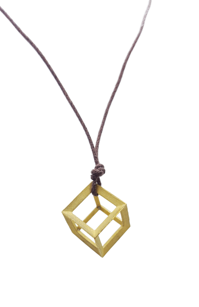 Plutonic Solids Necklace - Gold - 6 sides / Hexahedron