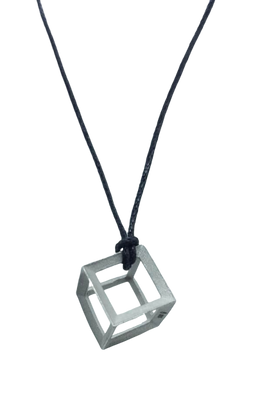 Plutonic Solids Necklace - Silver - 6 sides / Hexahedron