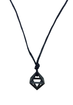 Plutonic Solids Necklace - Oxidised Silver - 8 sides / Octahedron