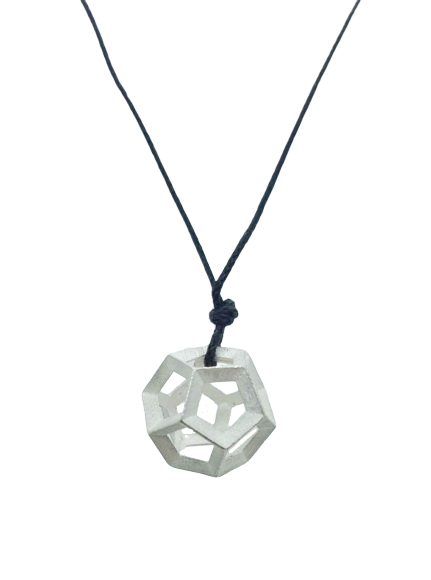 Plutonic Solids Necklace - Silver - 12 sides / Dodecahedron
