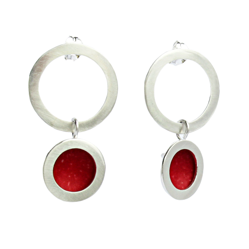 Orbit stud drop earrings - silver hoop stud with circle drop/red centre