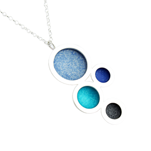 Orbit necklace - articulated multiple silver circles indigo/royal blue/purple centres