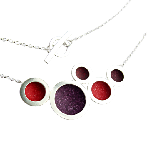 Orbit necklace - multiple silver circles with red/burgundy/berry centres