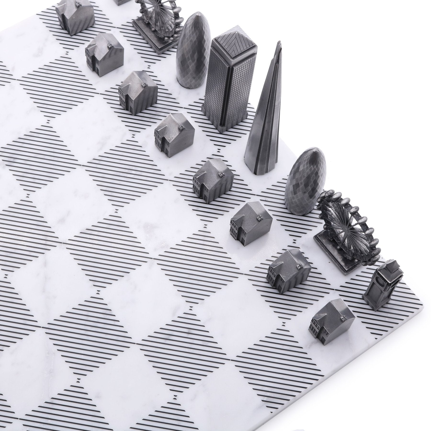 London Chess Set - Premium Metal + Marble Board