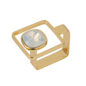 Square Frame Ring - Gold Opal