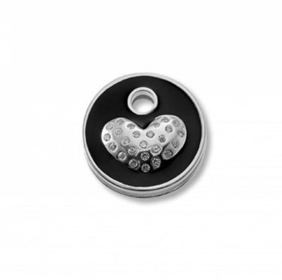 Keytop Round - Silver - Sparkling Heart Black