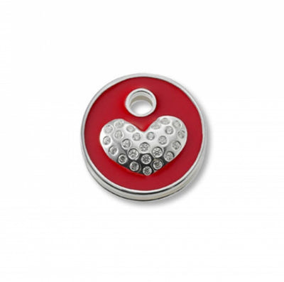 Keytop Round - Silver - Sparkling Heart Red
