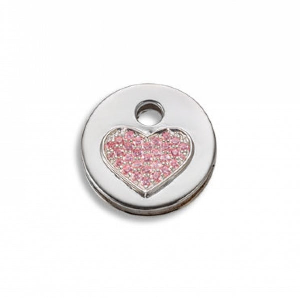 Keytop Round - Silver - Sparkling Heart Pink