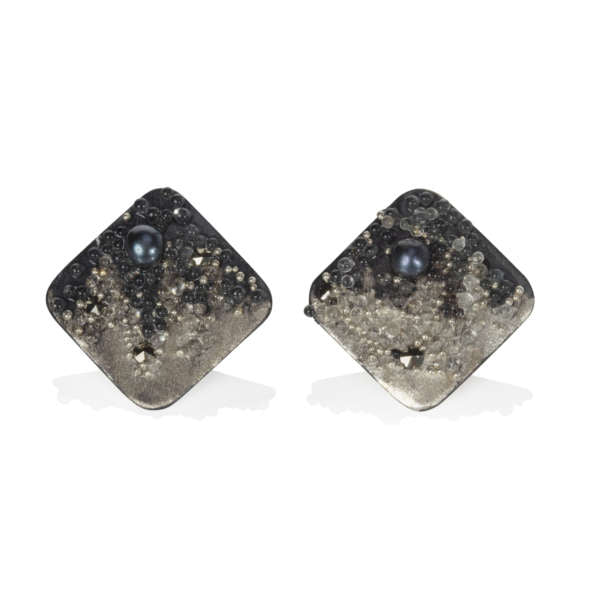 Volcanic Treasure Ear Studs - Silver B&W Square