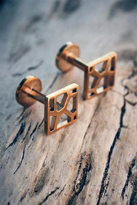 Voronoii Raw Bronze Square Cufflinks