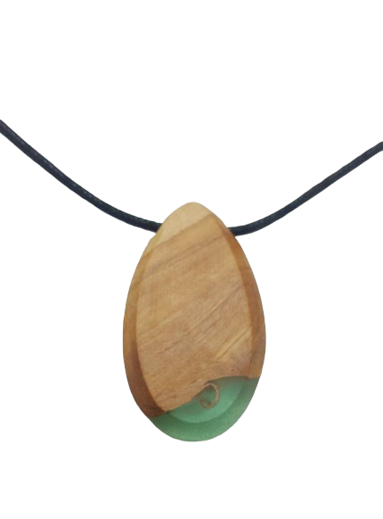 Wood & Resin Necklace - Green