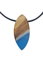 Wood & Resin Necklace - Blue Dark