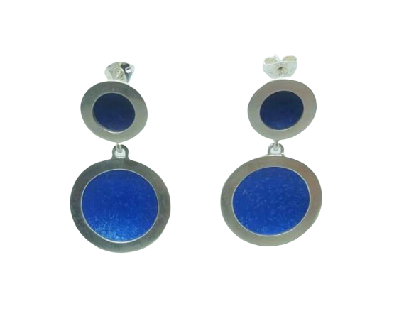 Orbit stud drop earrings - small/large silver circles indigo/royal blue centres