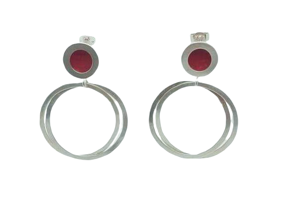 Orbit stud drop earrings - silver circle/red centre with silver hoops