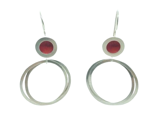 Orbit drop earrings - silver circle/red centre with silver hoops