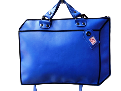 Suitcase - Blue Leather Bag